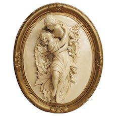 Romantic Ceramic Plaque Circa 1940's