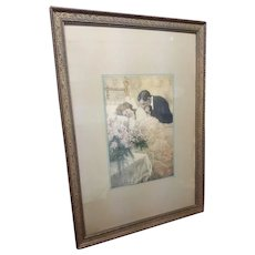 Large Vintage Print Husband Wife and Baby Circa 1920's