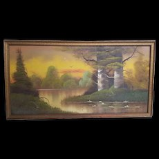 Vintage Signed Landscape Oil Painting on Hardboard