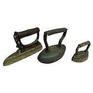3 Antique Sad Irons Circa 1900