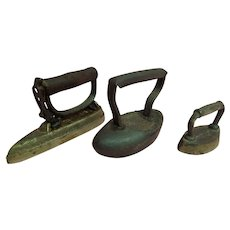 3 Antique Sad Irons Circa 1900