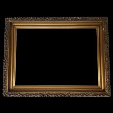 Antique Wood Picture Frame with Applied Gesso Circa 1890's