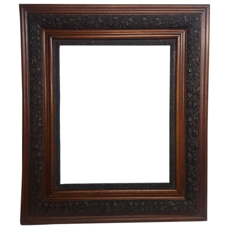 Large Antique Wood Frame with Fancy Applied Gesso Circa 1900 ...