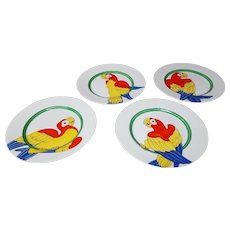 Parrot in Ring Set of 4 Plates Fitz and  Floyd