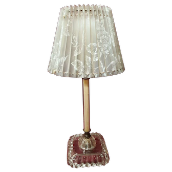 Vintage Glass Candlestick Lamp with Floral Shade Circa 1950's