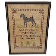 Vintage Cross Stitch Dog Is Man's Best Friend Circa 1920's