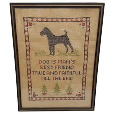Vintage Cross Stitch Dog Is Man's Best Friend Circa 1920's