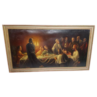 Antique Oil Painting of The Last Supper