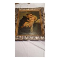 Antique Religious Lithograph Saint Anthony of Padua Large Ornate Frame