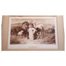 Rare Antique Print And A Little Child Shall Lead Them by William Strutt C. 1896