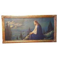 Jesus Christ at Gethsemane Religious  Print Circa 1920's