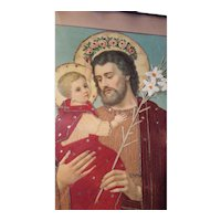 Rare Religious Victorian Punch Paper Art Saint Joseph and Infant Jesus Circa 1890's