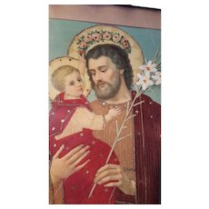 Rare Religious Victorian Punch Paper Art Saint Joseph and Infant Jesus Circa 1890's