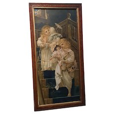 Antique Victorian Chromo Lithograph Two Little Sisters Fancy Oak Frame Circa 1890's