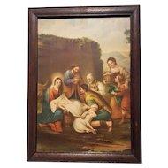 Religious Art Vintage Print Nativity Scene Circa 1920's