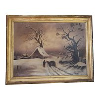 Antique Winter Scene Landscape Oil Painting on Canvas