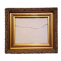 Antique Picture Frame With Decorative Applied Gesso Circa 1880's