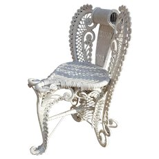 Rare Antique Victorian Wicker Posing Chair