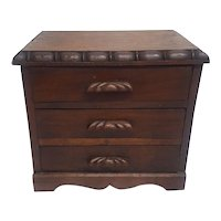 Antique Victorian Walnut Miniature 4 Drawer Chest Circa 1890's