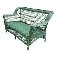 Antique Wicker Loveseat  Settee Sofa Circa 1920