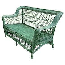 Antique Wicker Loveseat  Settee Sofa Circa 1920