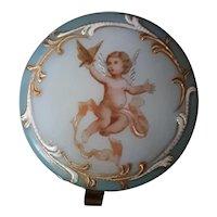Antique Victorian Enameled Porcelain Patch Box Circa  1890's