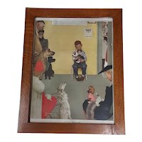 Vintage Norman Rockwell At The Vet's Circa 1972 Print in Custom Oak Frame Veterinarian