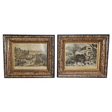 Currier and Ives Pair of Prints Circa 1870's