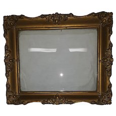 Antique Wood Picture Frame with Decorative Applied Gesso Circa 1890's