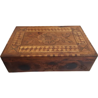 Antique Wooden Box with Inlay Circa 1890's