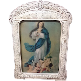 Religious Print The Immaculate Conception of Mary Circa 1950's