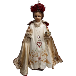 Rare Vintage Infant of Prague Statue Circa 1920's