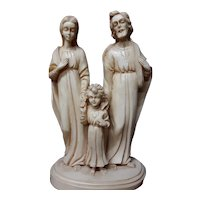 Vintage Religious Statue Holy Family Hand Carved Alabaster Circa 1940's Jesus Mary Joseph