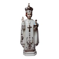 Vintage Religious Porcelain Statue The Infant of Prague Circa 1940's