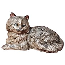 Antique Persian Cat Doorstop Cast Iron Circa 1900 Hubley