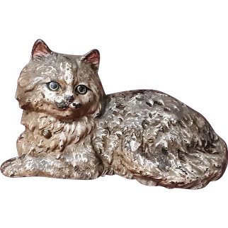 Antique Persian Cat Doorstop Cast Iron Circa 1900 Hubley