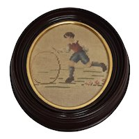 Antique Walnut Wood Picture Frame with Needlepoint of Boy With a Hoop Circa 1890's