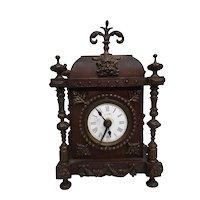 Antique Wood and Bronze Clock Circa 1900