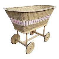 Antique Wicker Bassinet Circa 1910