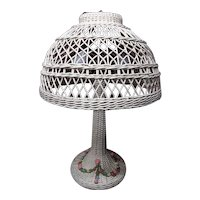 Vintage Wicker Table Lamp with Barbola Circa 1920's Rare Large
