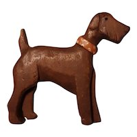 Vintage Hand Carved Wood Brooch Pin Terrier Dog Circa 1950's-60's