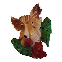 Vintage Celluloid Terrier Dog Brooch Pin Circa 1940's-50's