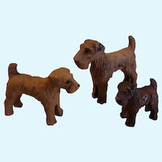 Vintage Trio of Terrier Dogs Composition Wood Figurines Circa 1930's