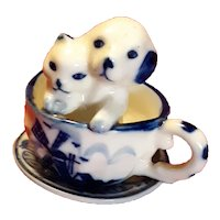 Vintage Delft Tea Cup and Saucer with Dog and Cat Figurine Circa 1920's-40's