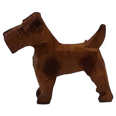 Antique Miniature Hand Carved Wood Terrier Dog  Figurine