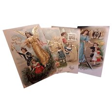 Four Antique Guardian  Angel Post Cards Embossed Circa 1900
