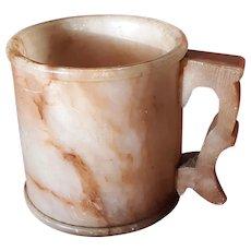 Antique Carved Alabaster Cup Mug Circa 1900