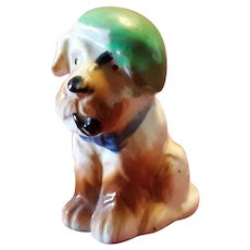 Vintage Comical Dog Figurine Smoking a Pipe Occupied  Japan