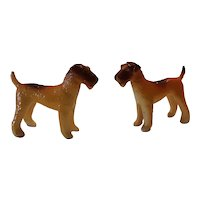 Pair of Early Plastic Terrier Dog Figurines Circa 1930's