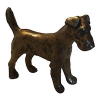 Vintage Brass Coated Metal Terrier Dog Paperweight Figurine Circa 1930's-40's
